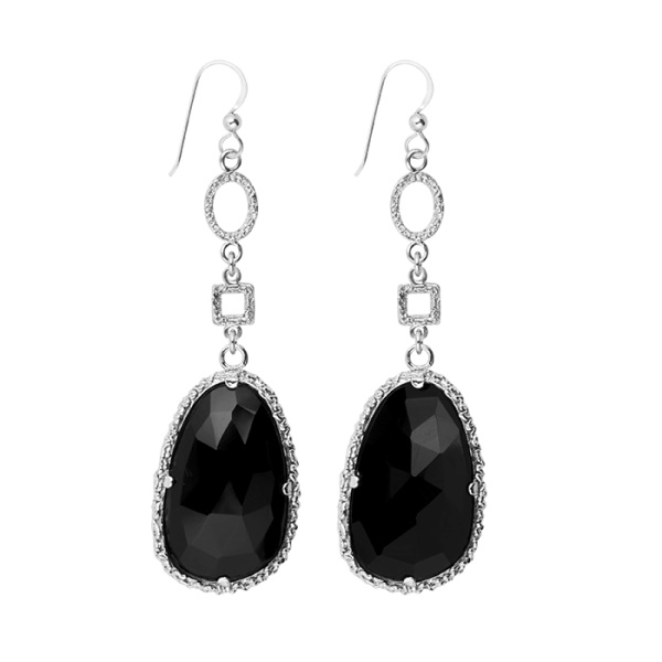 DROP BLACK SILVER EARRINGS i gruppen SHOP hos EMMA ISRAELSSON (ear058)